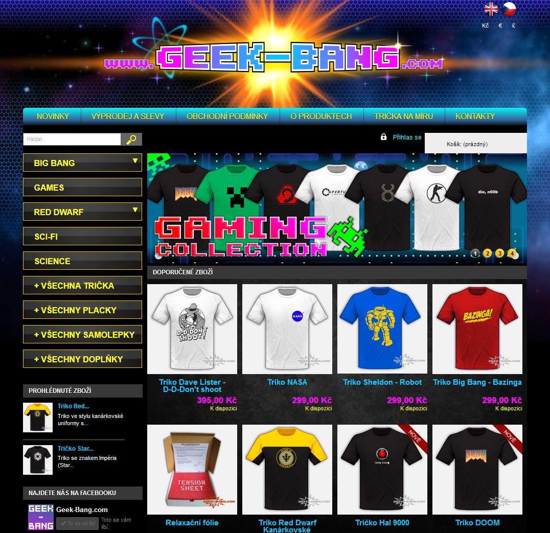 Geek-Bang.com - geek, herní, vědecká, seriálová a jiná trička